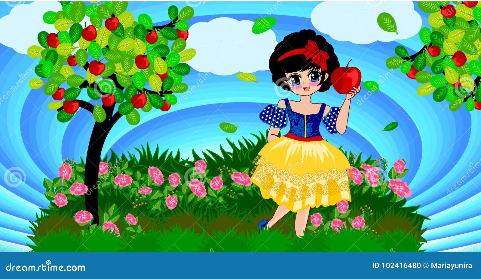 Snow white stock vector  Illustration of lovely, background