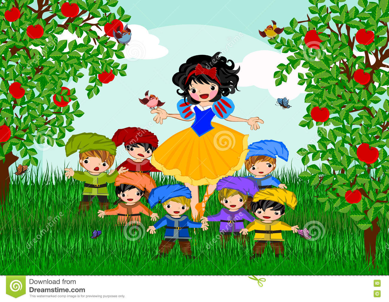 Snow white stock illustration  Illustration of children - 73921720