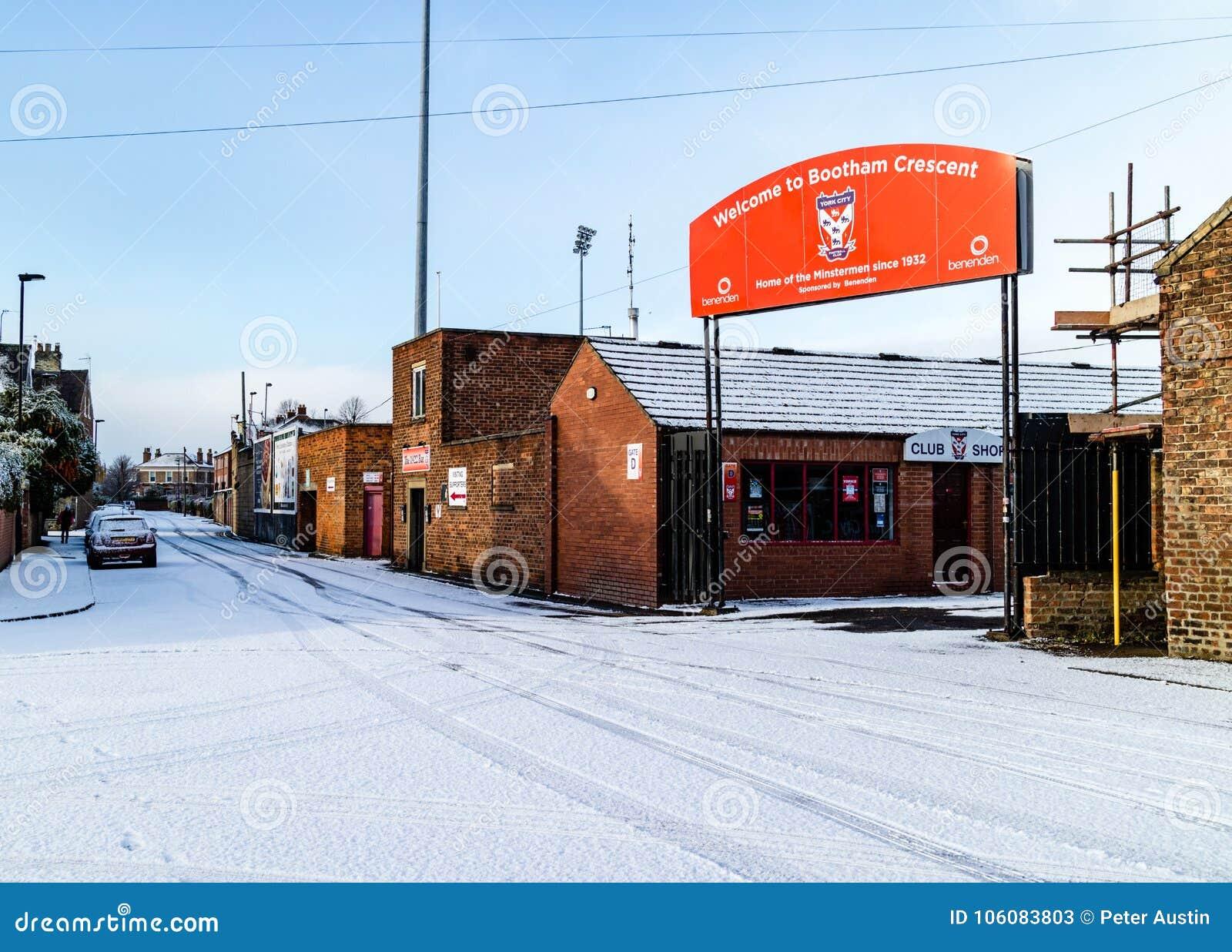 Snow In Winter Around Bootham Crescent Football Ground