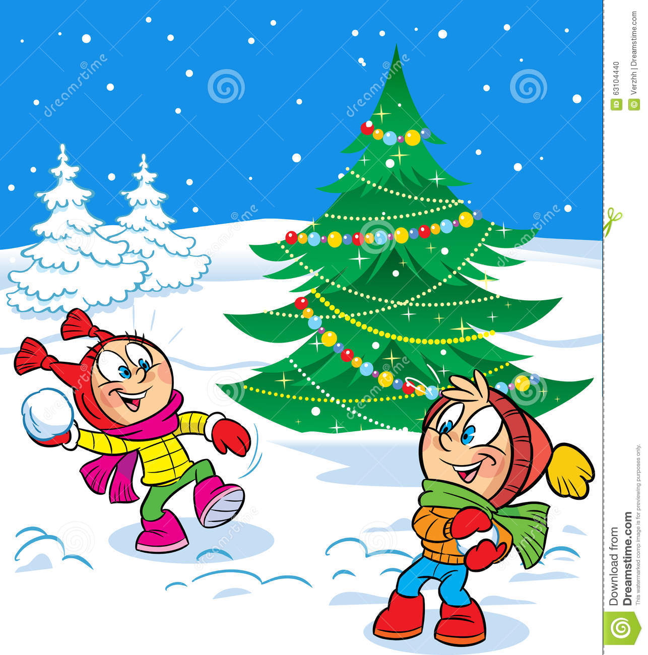 the illustration shows a fun game kids throwing snowballs on a background of the christmas tree vector illustration done in cartoon style - Christmas Shows For Kids