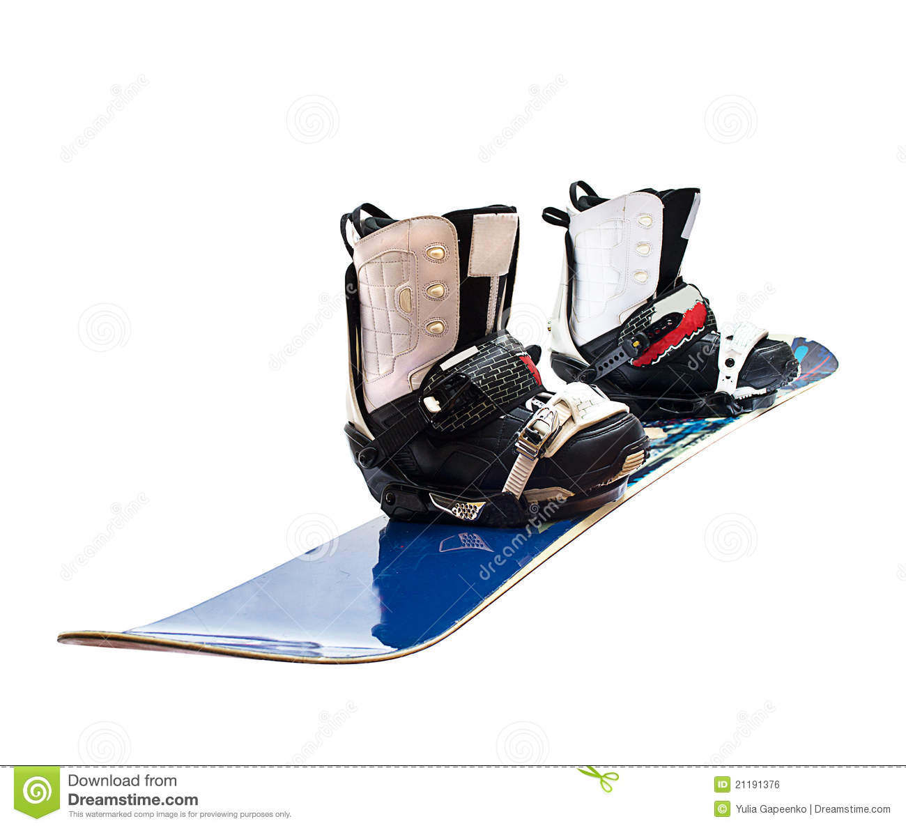 Snowboard and boots isolated