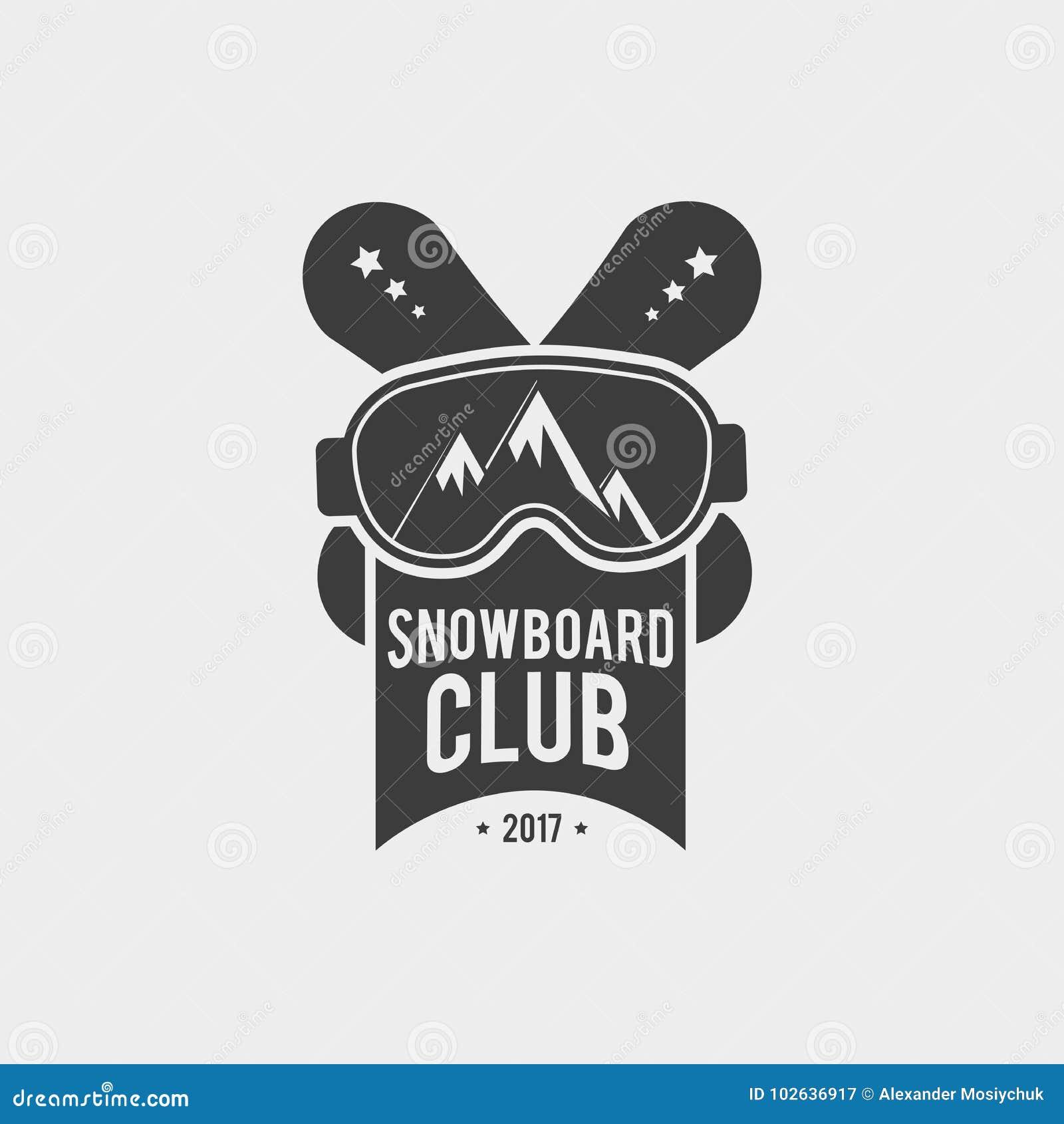 Snowboard Club Logo Label Or Badge Template Vector Symbol Design