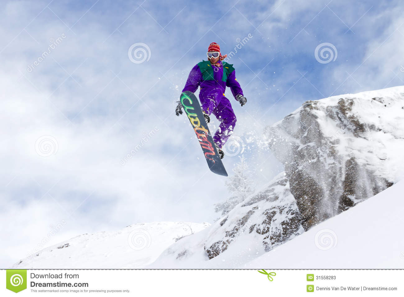 Snowboard Flying Stock Photos