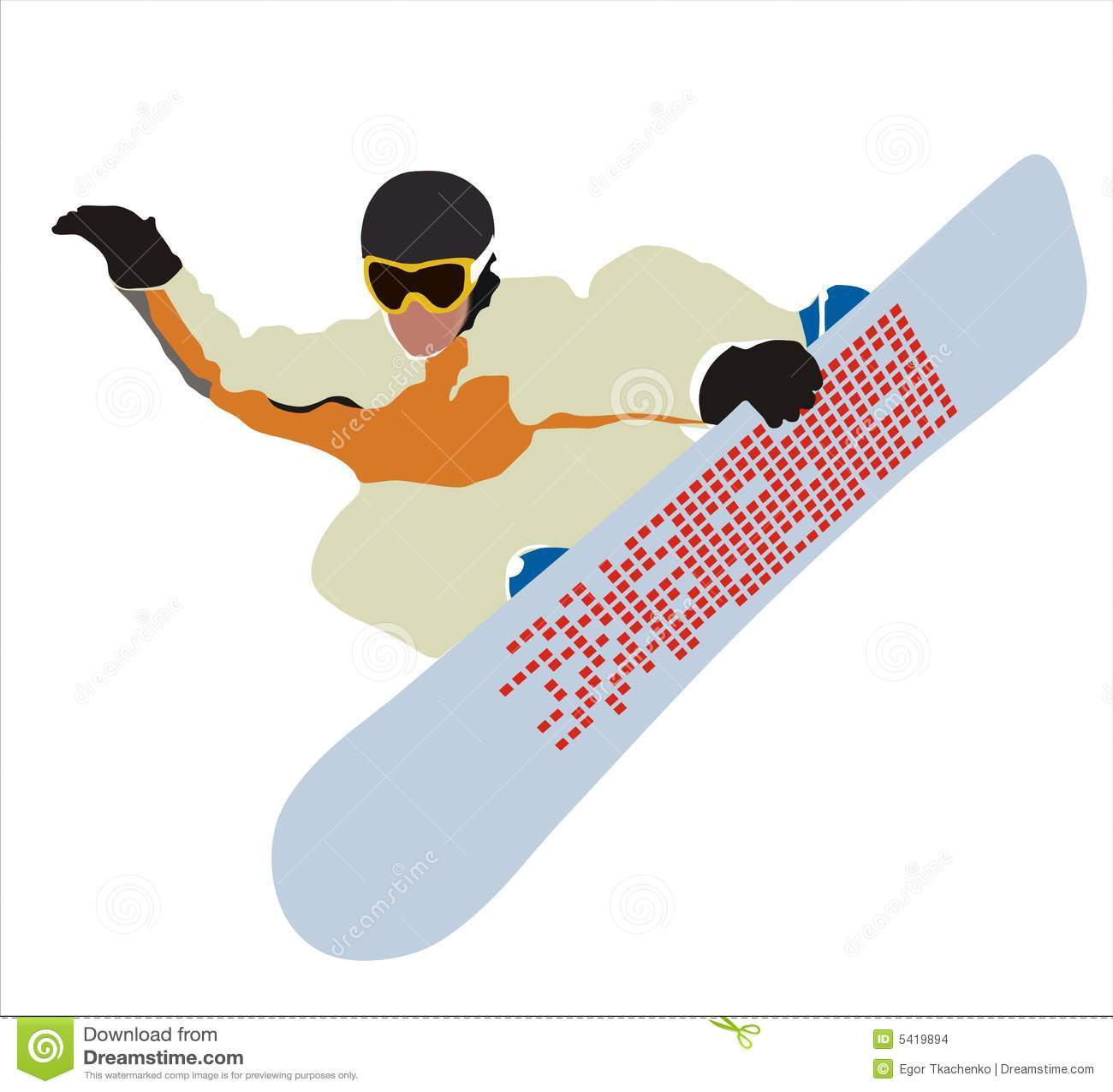 Snowboard im Flug.
