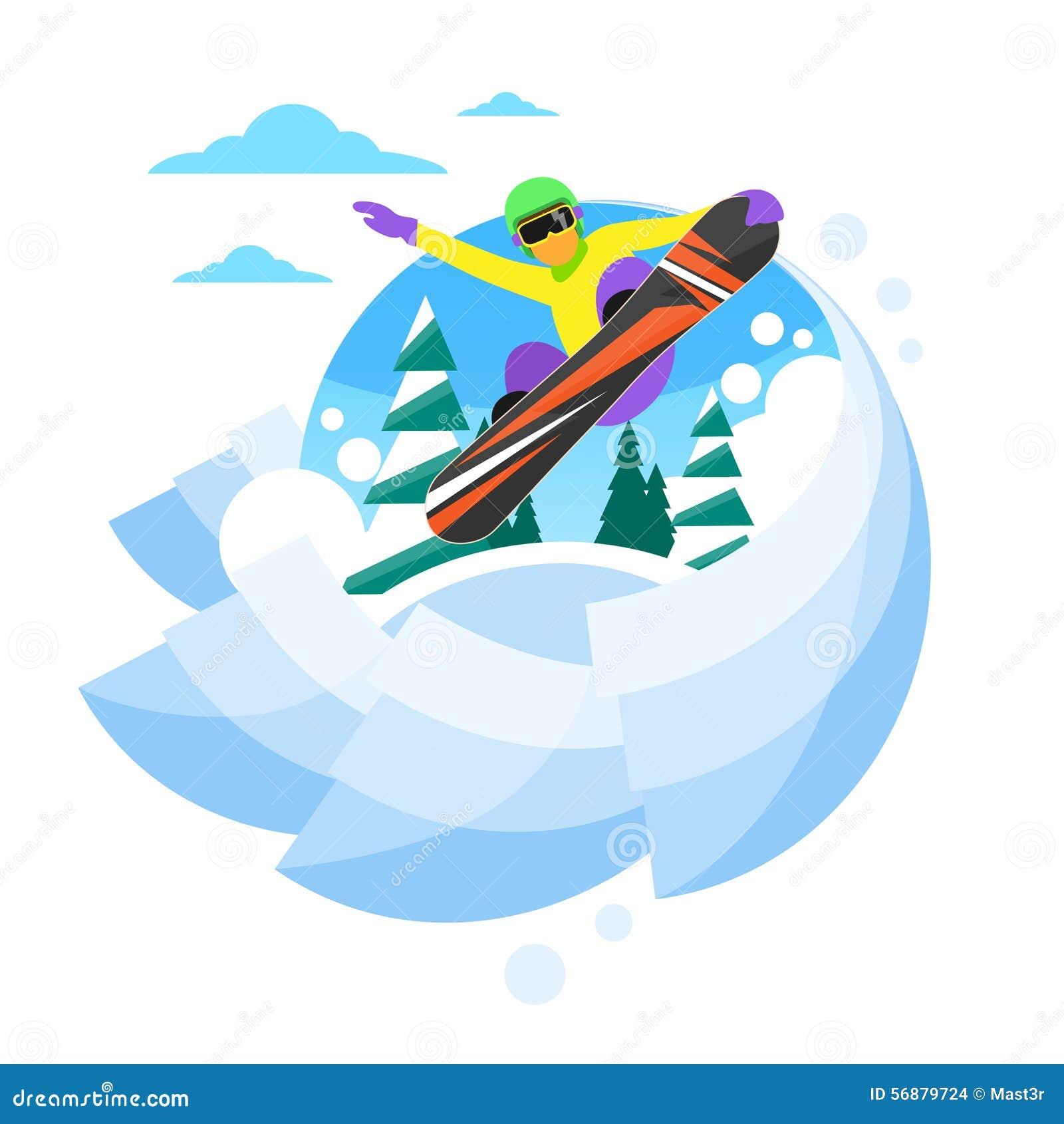Snowboarder che fa scorrere giù la collina, snowboard dell uomo