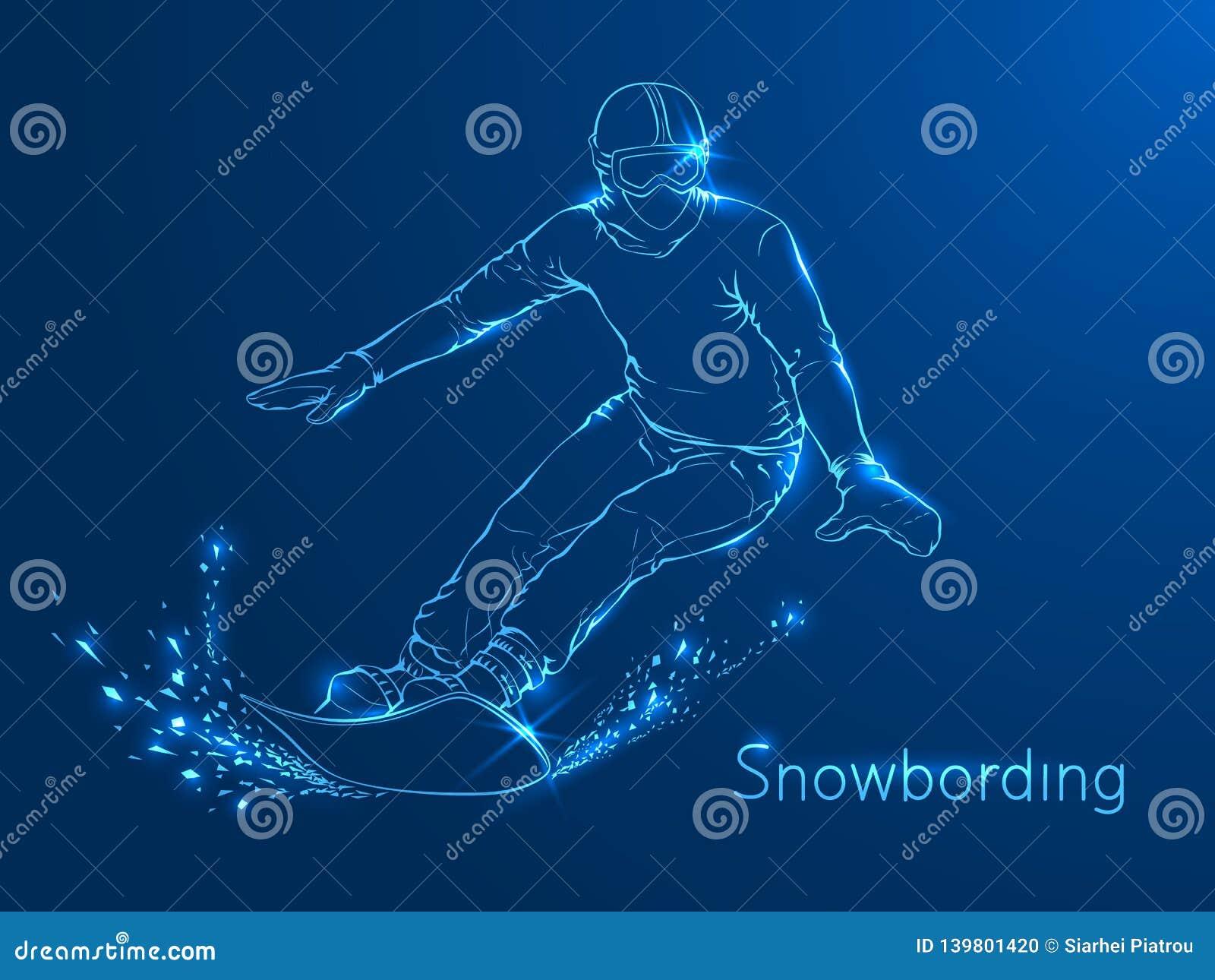 Snowboarder con un bordo sulle sue spalle