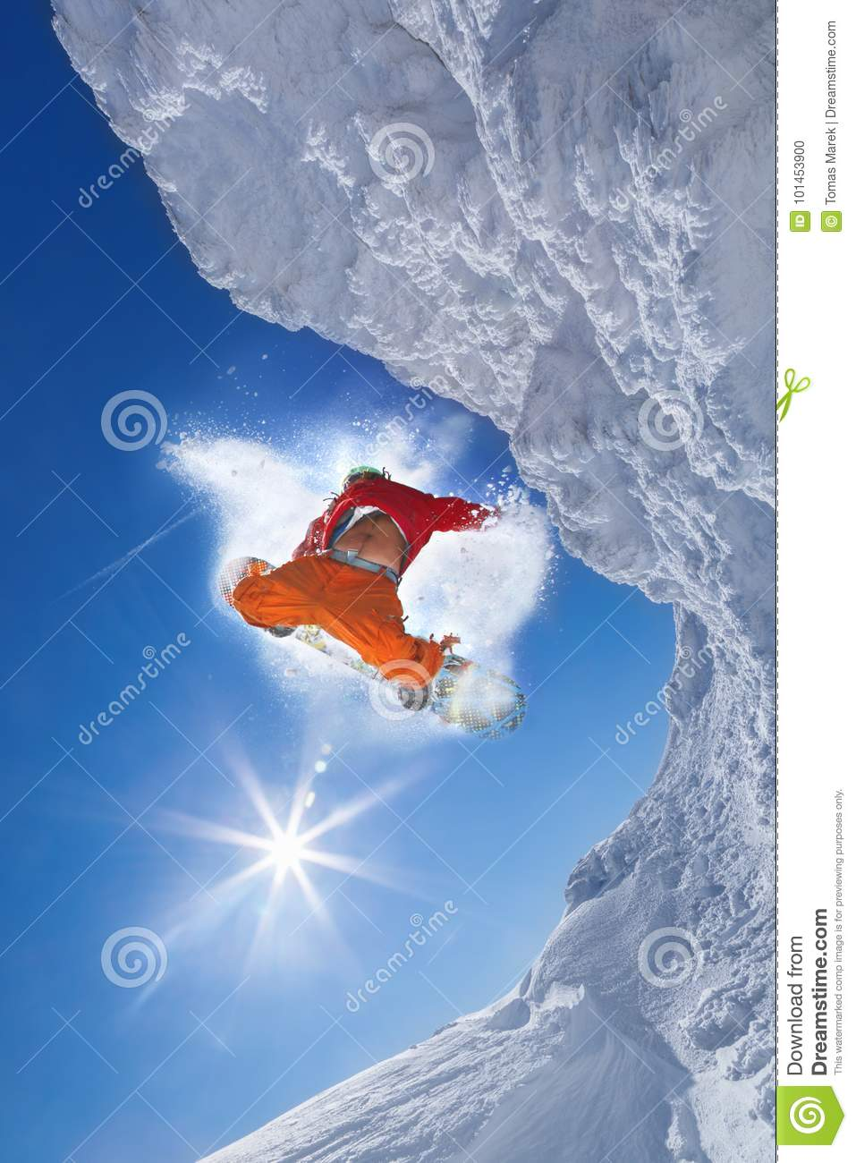 4a292196f36d Snowboarder Jumping Against Blue Sky Stock Photo - Image of alps ...