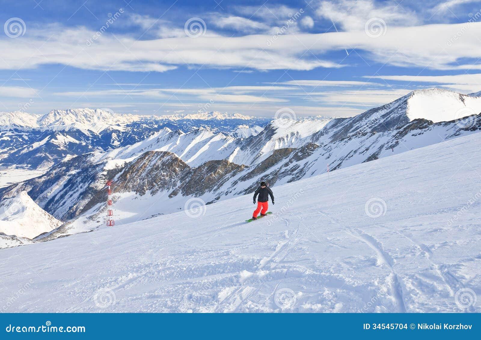 snowboarder. ski resort of kaprun, austria editorial stock image