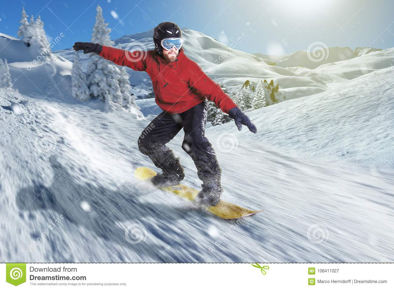 Snowboarder Slides Downhill On A Yellow Snowboard In Snowy Hills ...