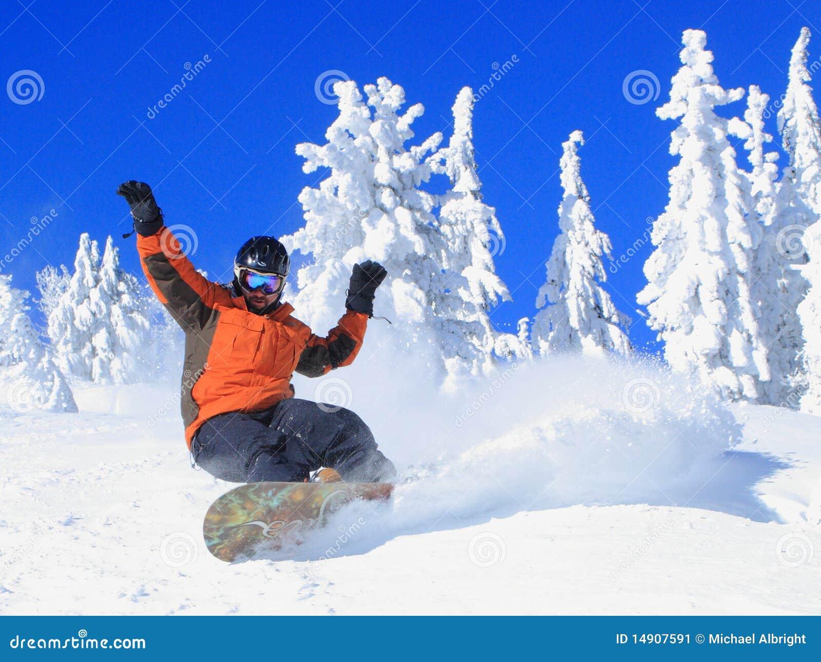 Snowboarding on a Bluebird Day