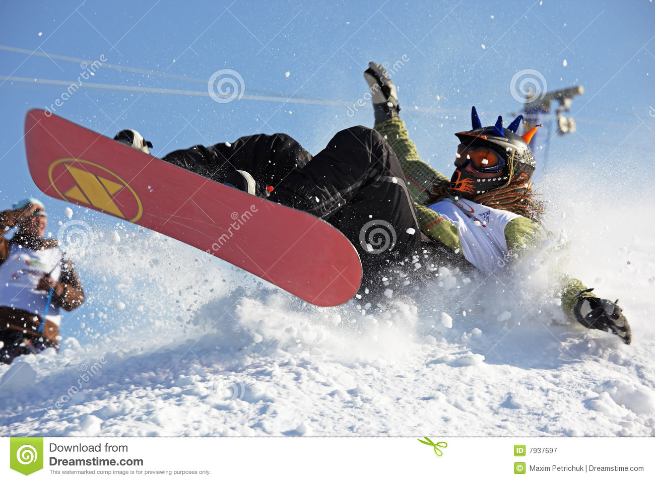 snowboarding extreme fall editorial photography image 7937697