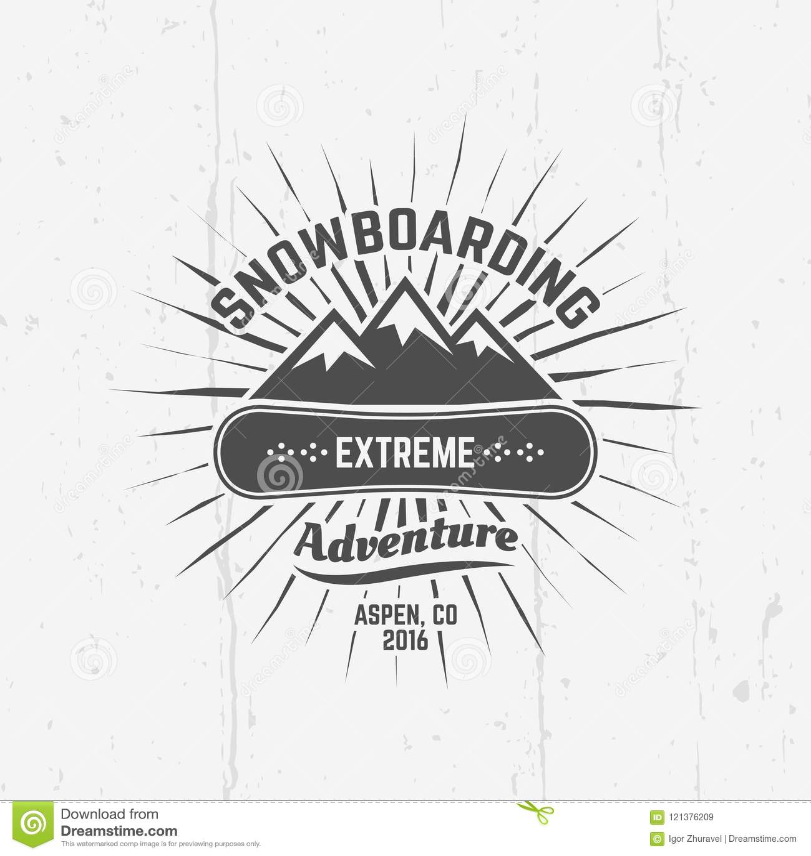 Snowboarding, Extreme Sport Vector Black Emblem Stock Vector ...