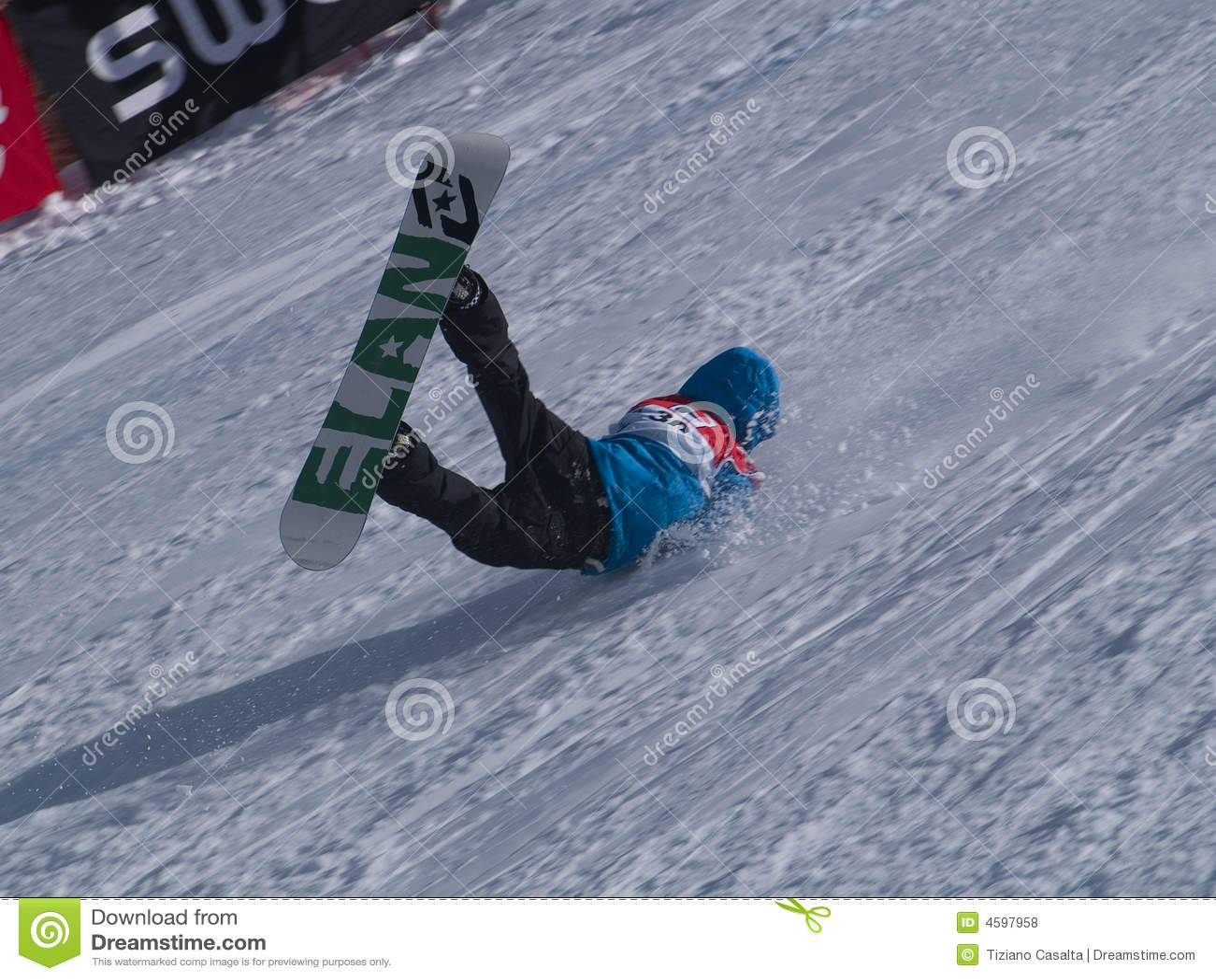 Snowboarding Fall Broken Editorial Stock Photo Image