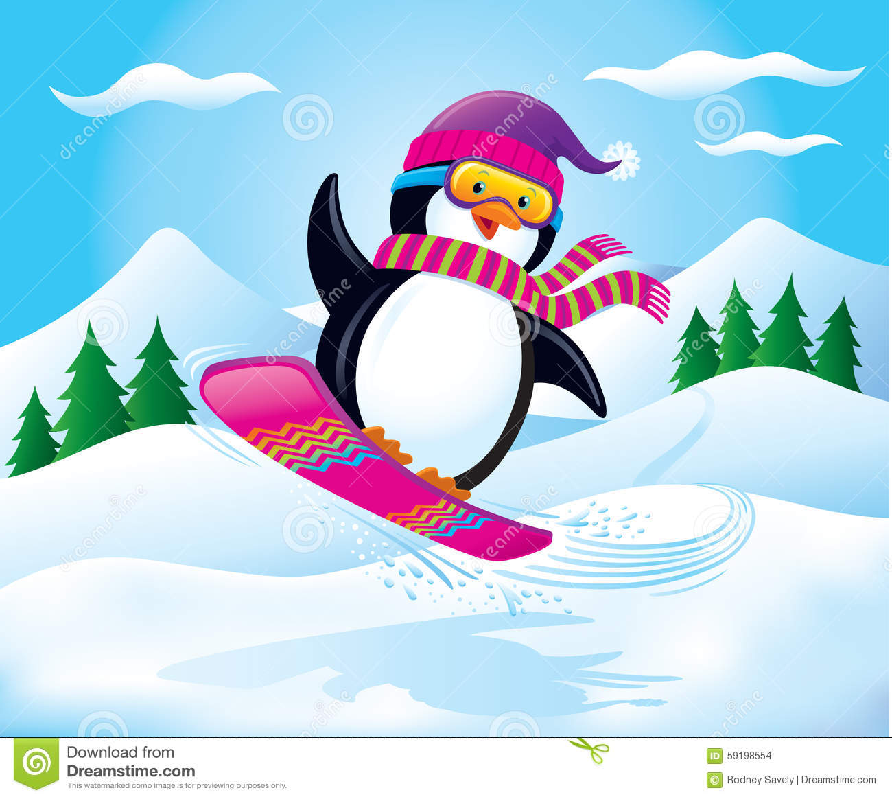 Snowboarding Penguin Air Cartoon Illustration Cute Wearing Knit Cap Scarf Snow Goggles Catching Some Vector