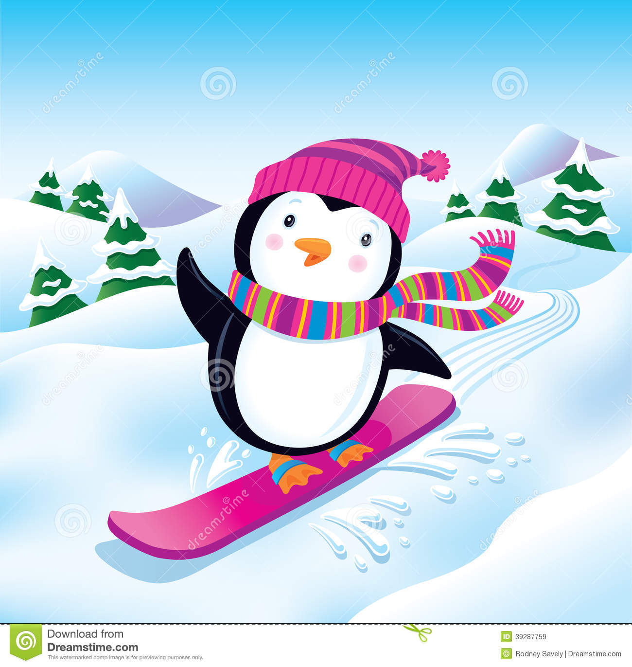 ... wearing a striped knit cap and scarf, snowboarding on a snowy slope