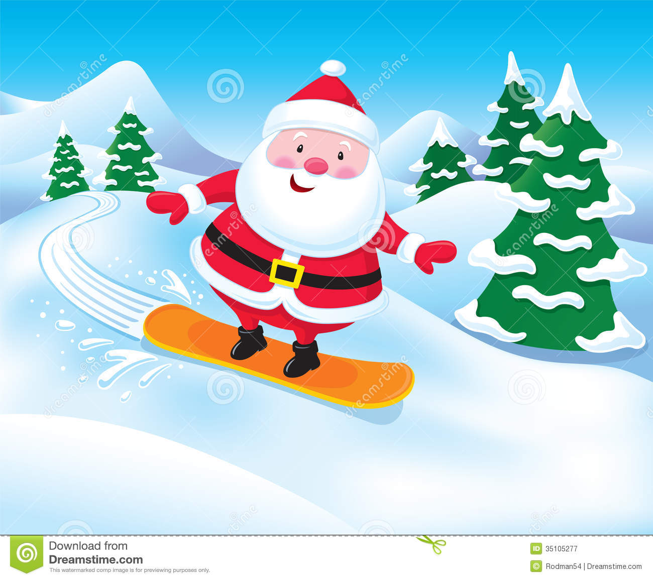 Cartoon illustration of a Santa Claus character snowboarding down a ...