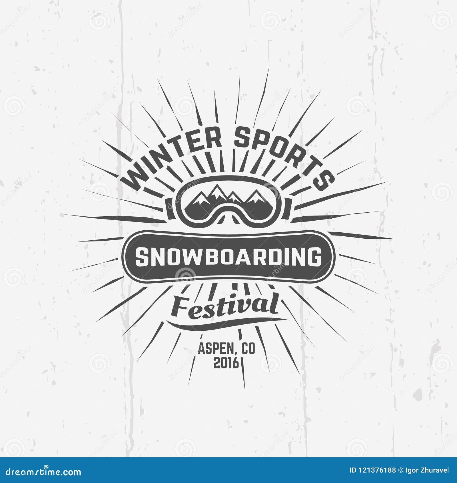 Snowboarding, Winter Sports Vector Black Emblem Stock Vector ...