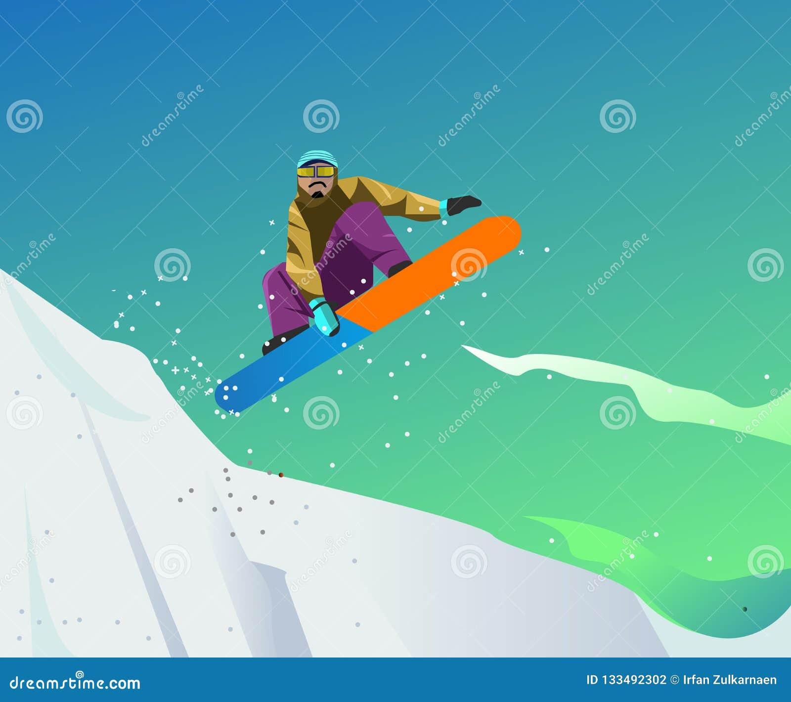 Snowboardingsportillustration med vektorstil