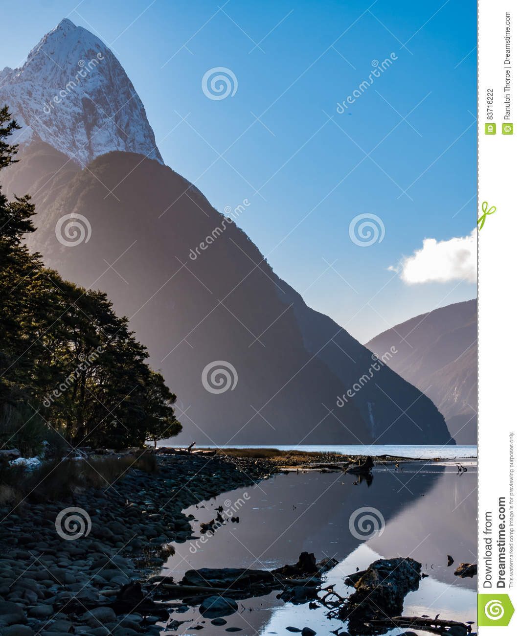 Snowcaped Mountains With A Lake Glassy Shore Stock Photo