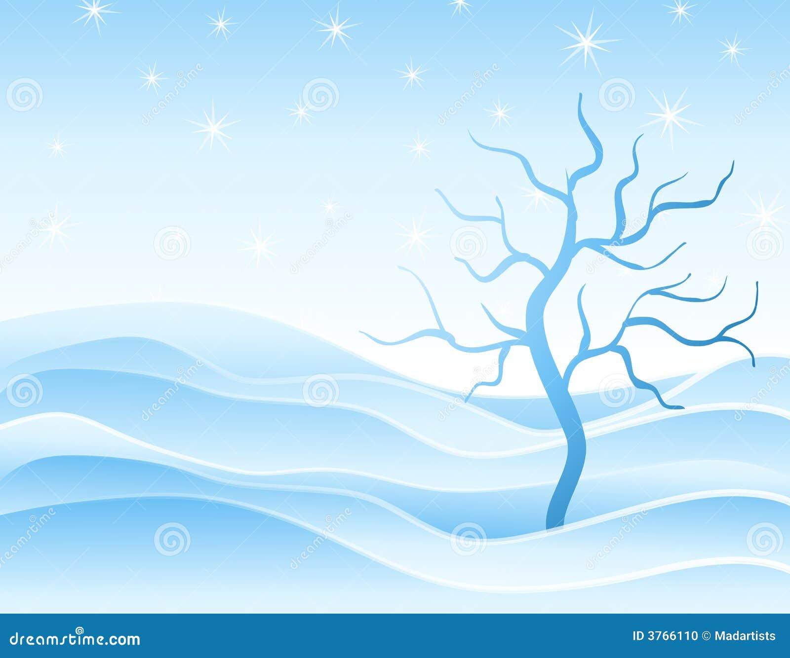 Snowdrifts e árvore do inverno no azul