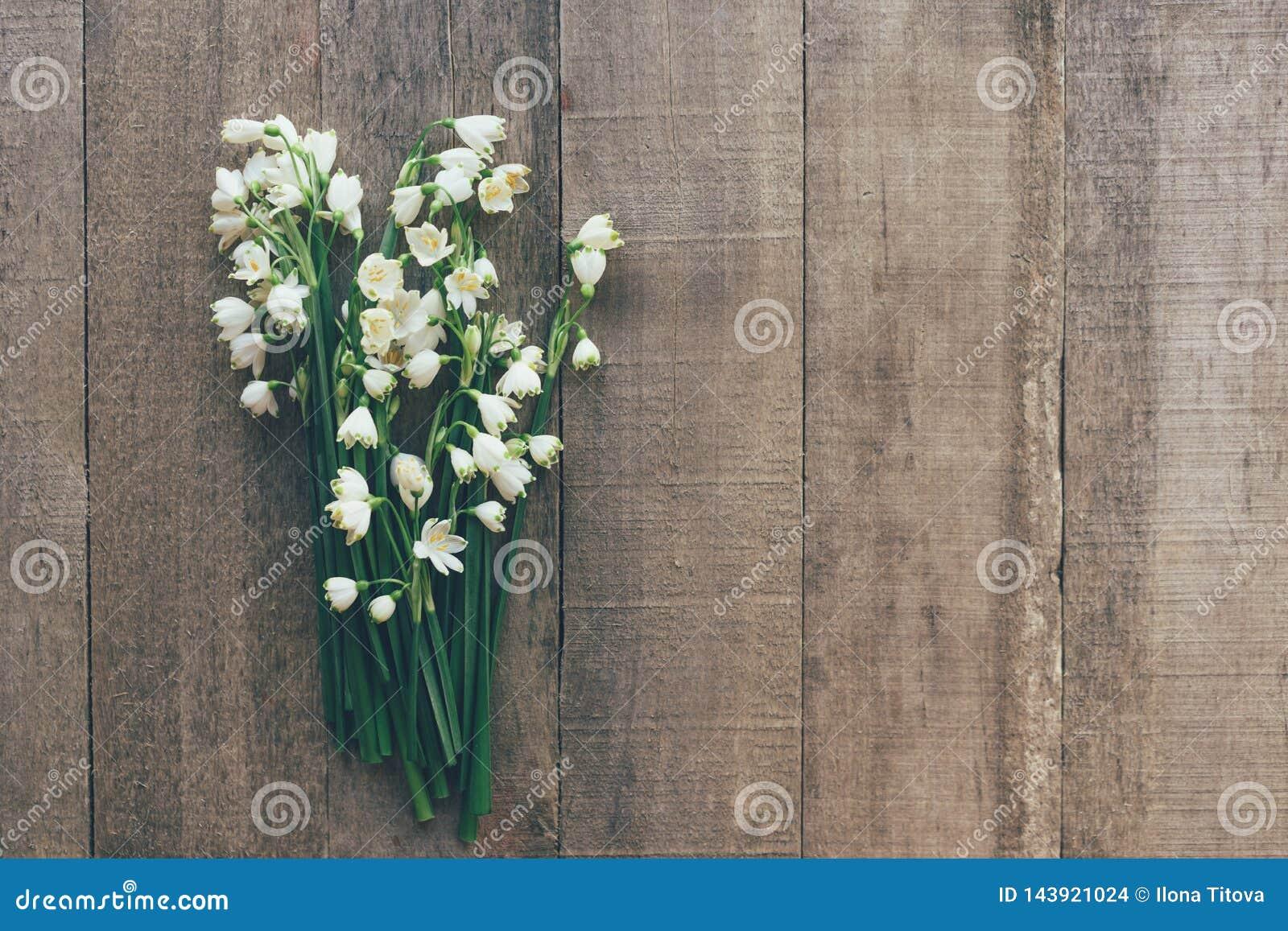 Snowdrops报春花花束在木背景的