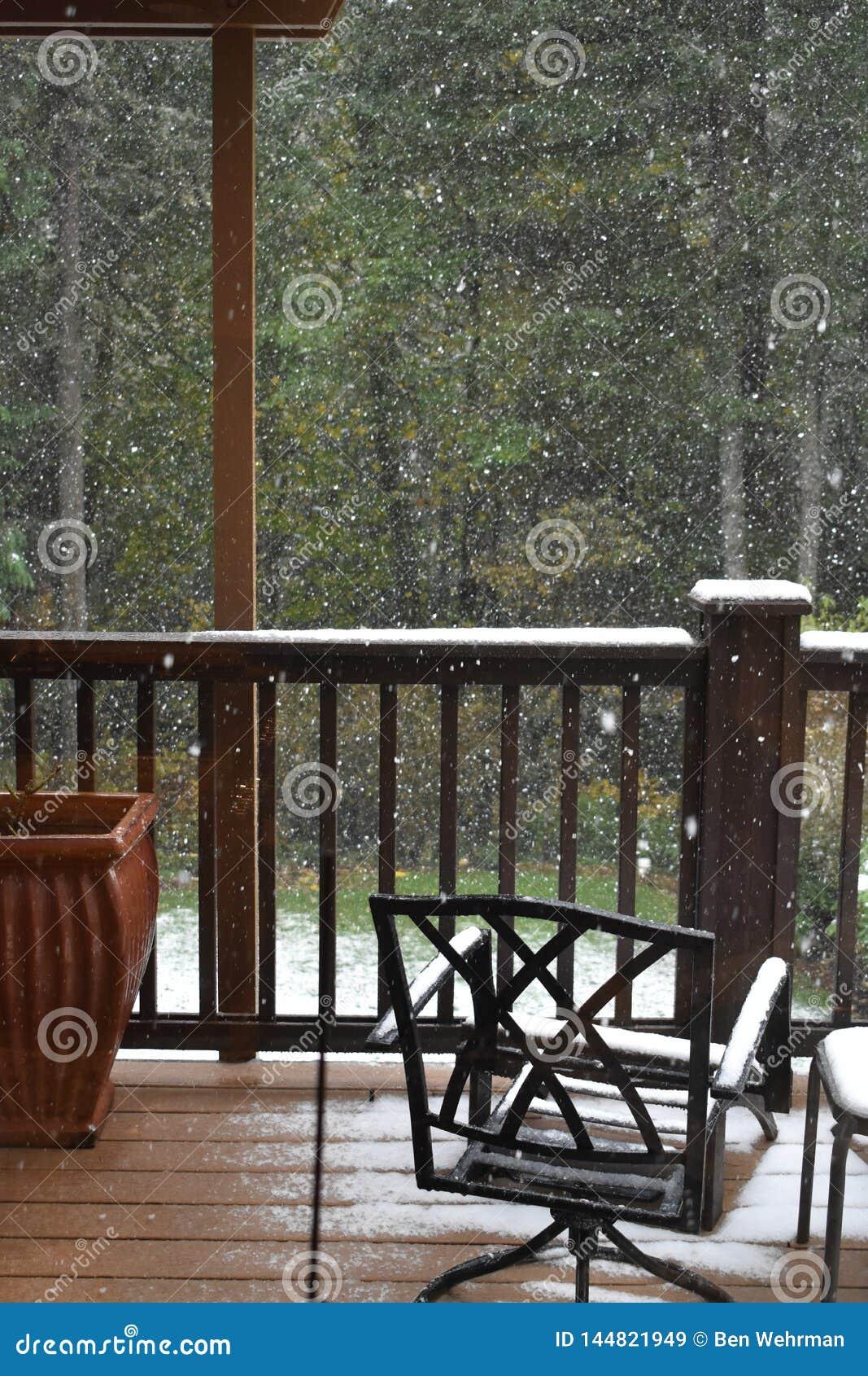 Snowfall on the Balcony