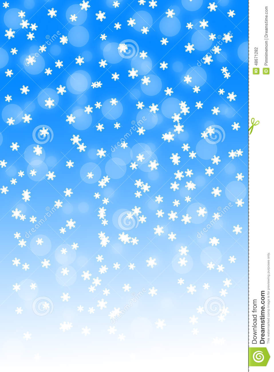 Snowfall On Blue And White Gradient Background Stock ...