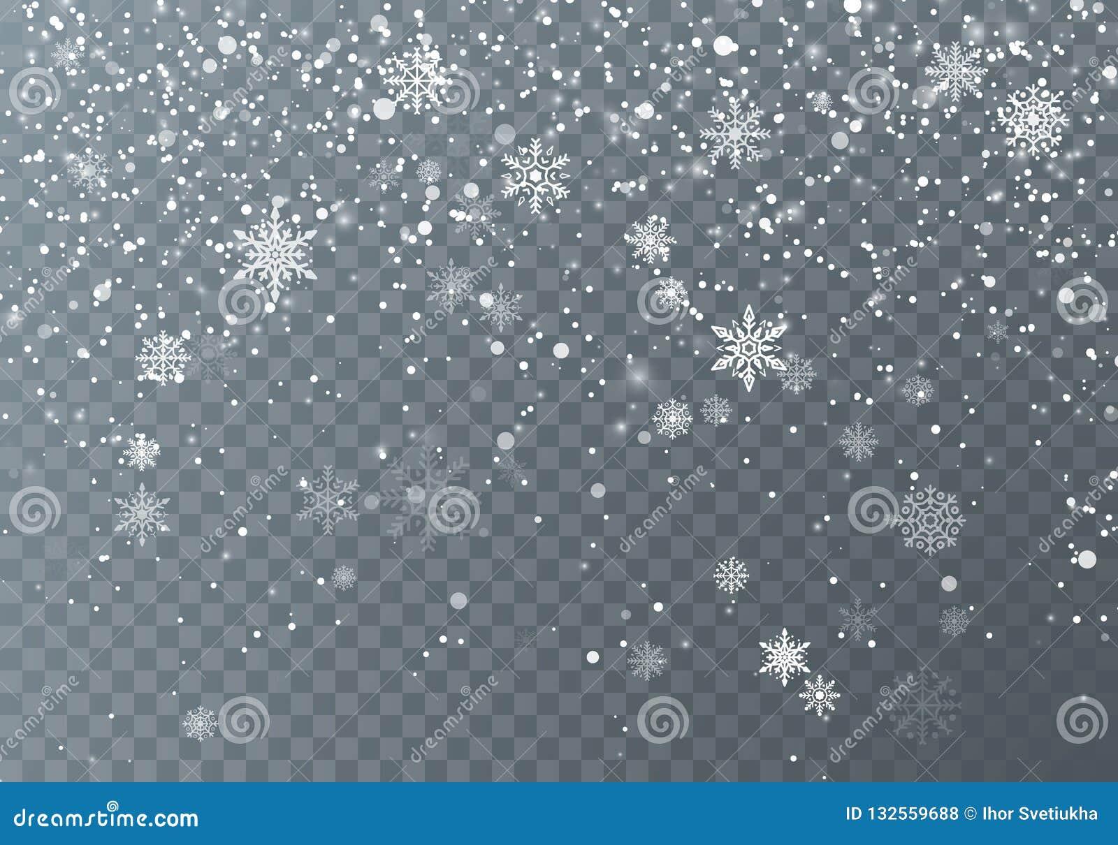 Snowfall Neige de Noël Flocons de neige en baisse sur le fond transparent foncé Fond de vacances de Noël Illustration de vecteur