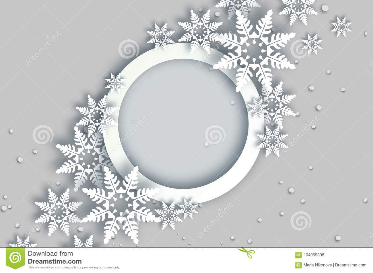 Snowfall. Origami Happy New Year Greetings Card. Merry Christmas ...