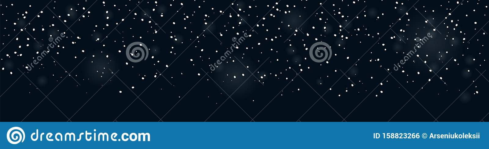 Falling snow seamless banner for winter decorations