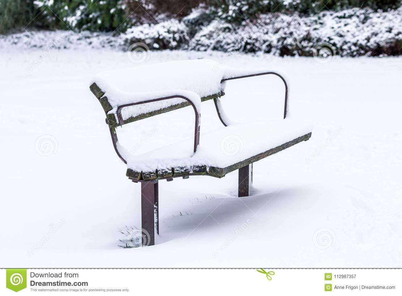 Empty park bench after fresh snow