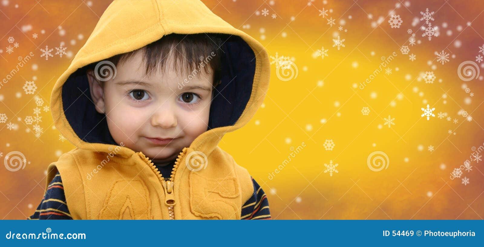 Snowflake παιδιών αγοριών ανασκόπησης χειμώνας κίτρινος