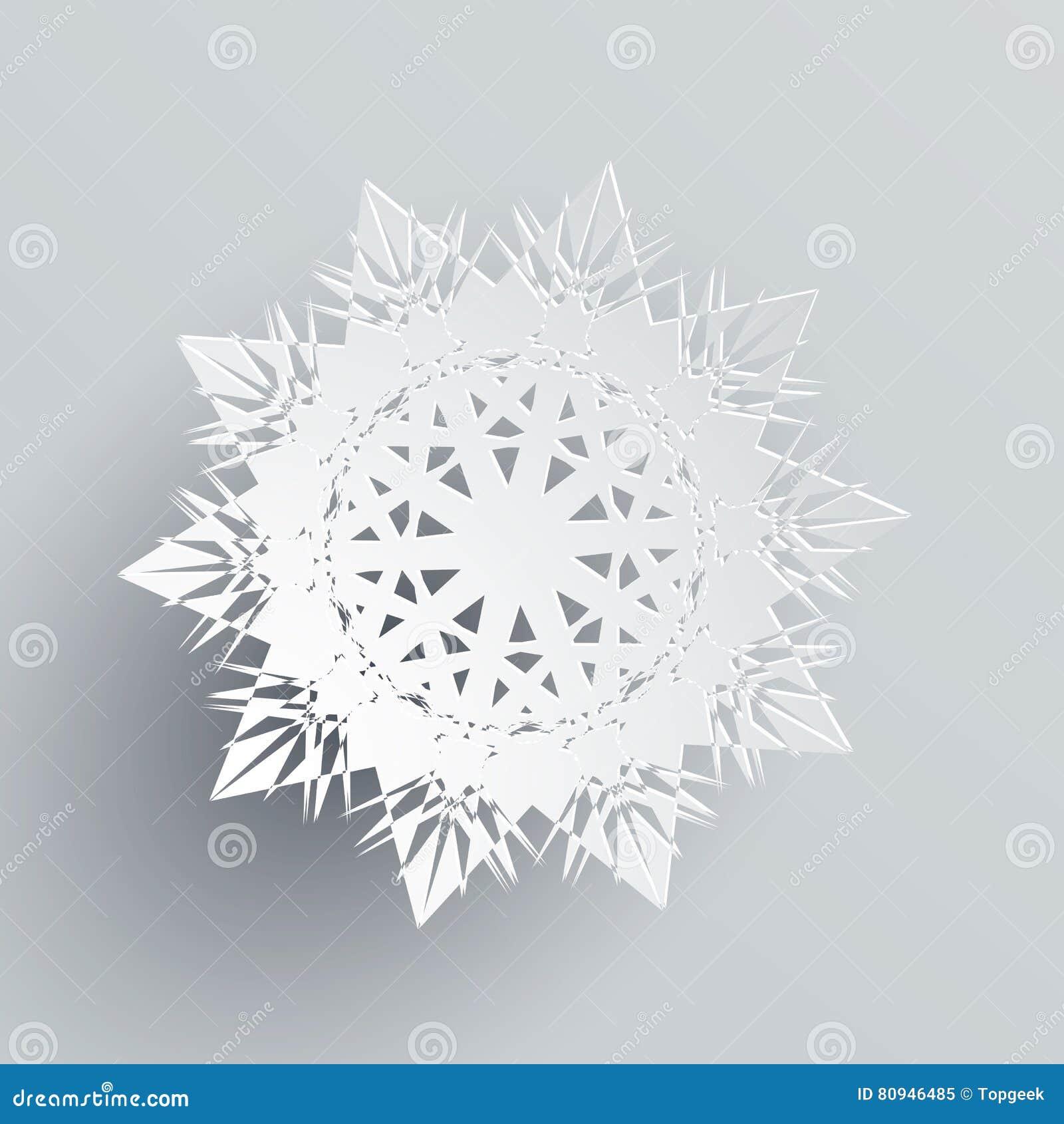 Snowflake που απομονώνεται στο ασήμι Ρεαλιστική νιφάδα