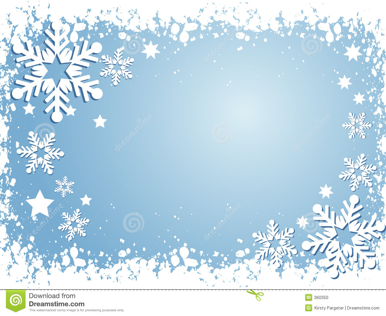 Winter themed background with snowflakes and stars.