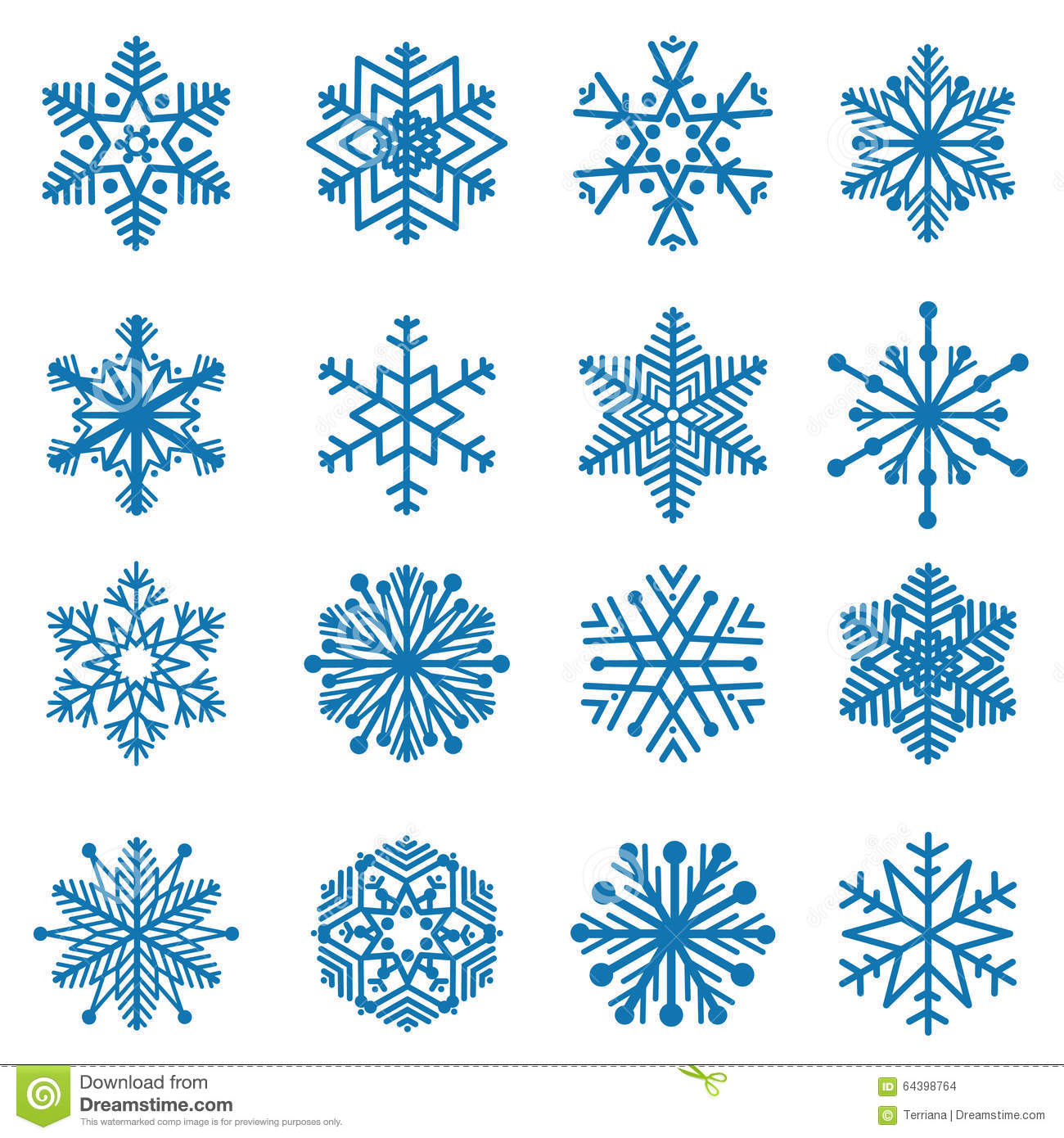 Snowflakes blue snow icon set winter holiday symbols isolated