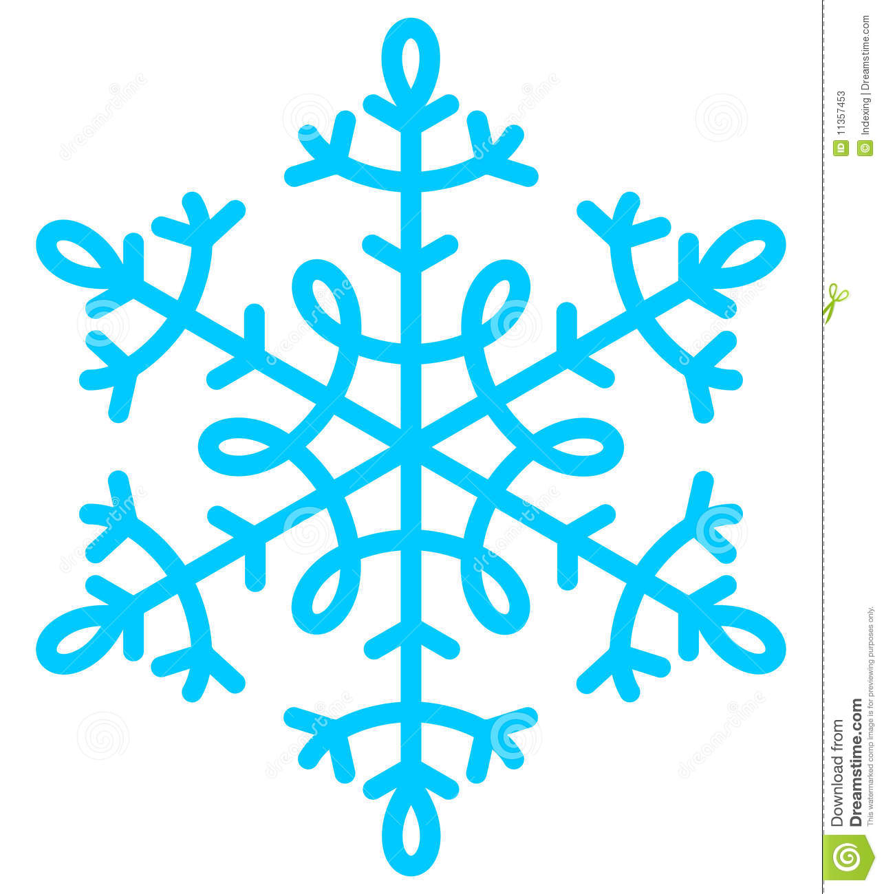 Snowflake blue image for holiday decor and background.