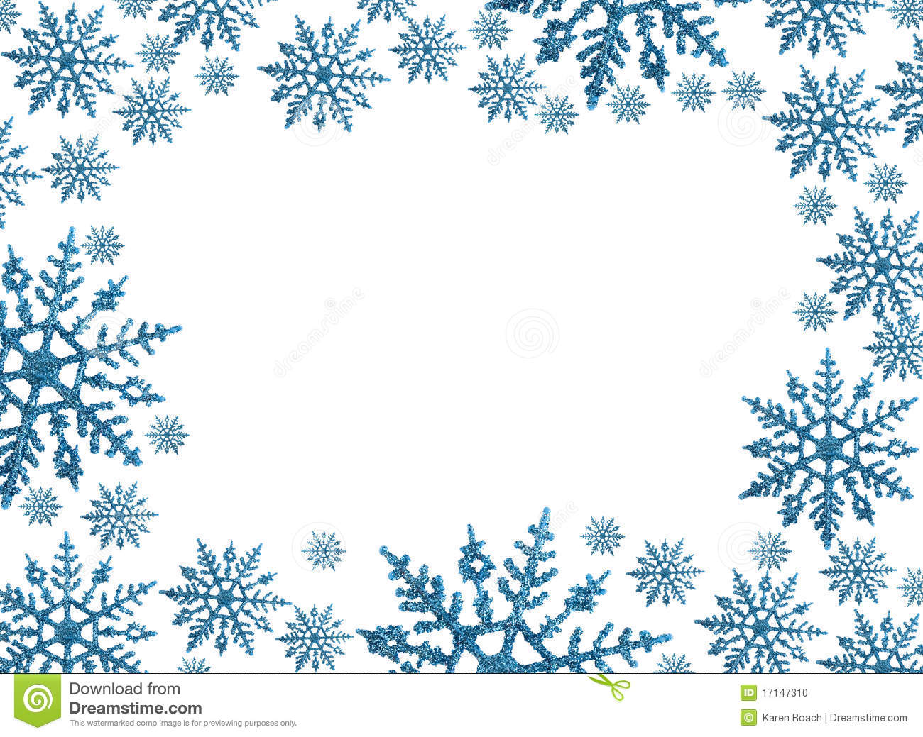 Snowflake border with white background, winter time.