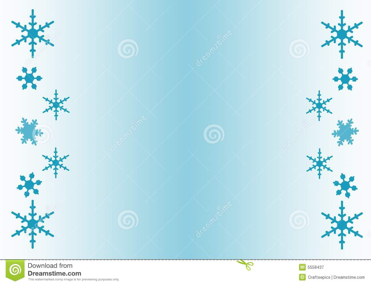 digitally created border of snowflakes, with a blue and white ...
