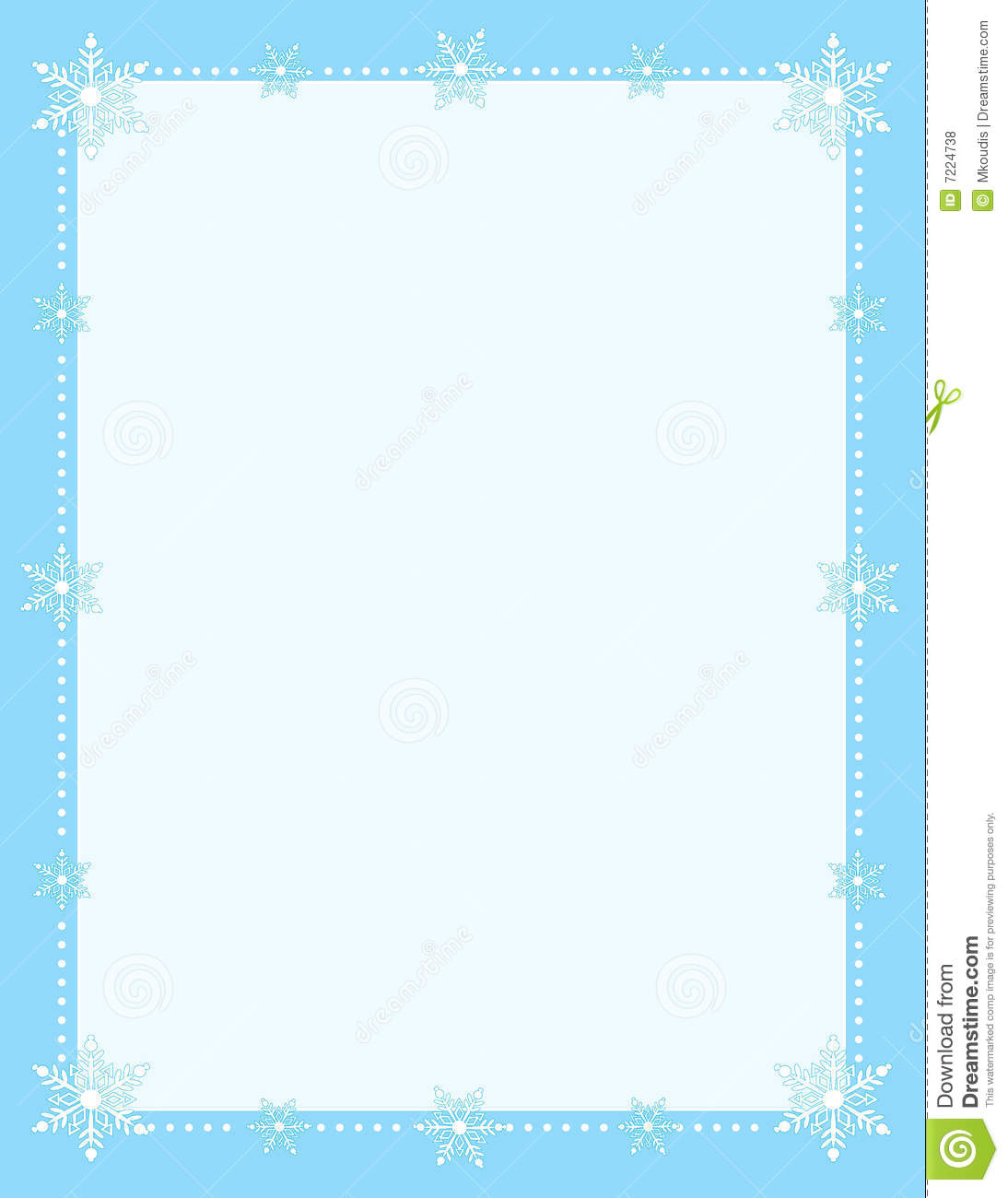 ... snowflake border pale blue center and framed with white snowflakes