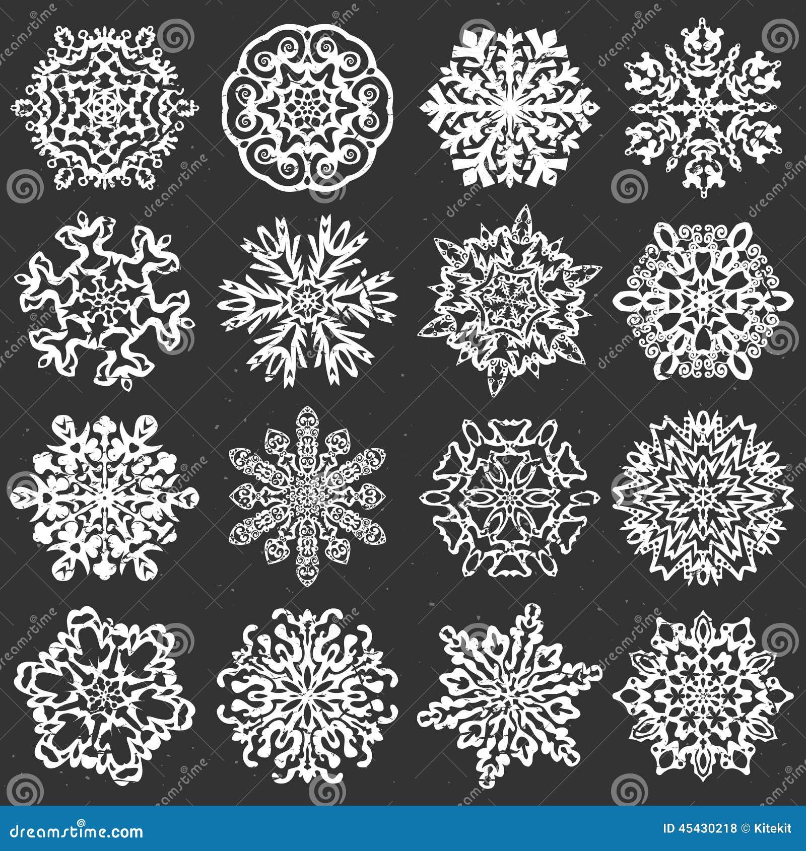 snowflake chalk vectors  stock vector