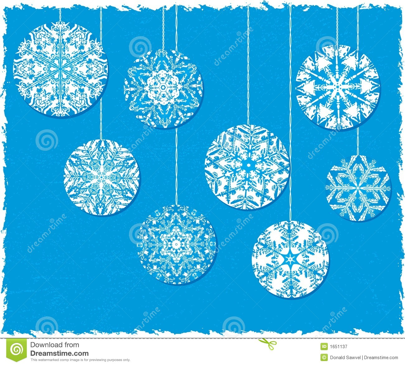 Christmas snowflake ornaments - Snowflake Christmas Ornaments On A Blue Background Royalty Free Stock Photography