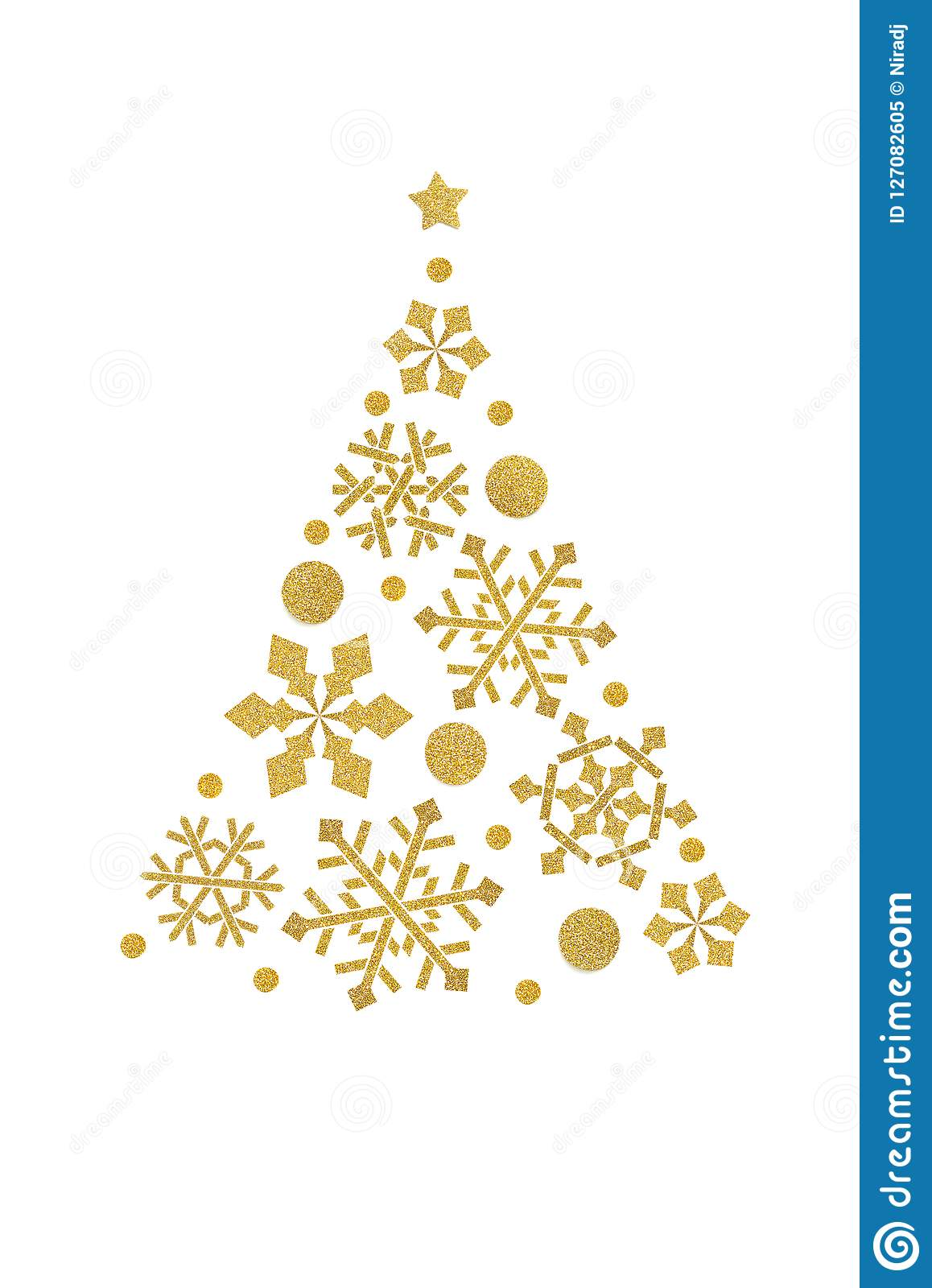 Snowflake christmas tree paper cut on white background