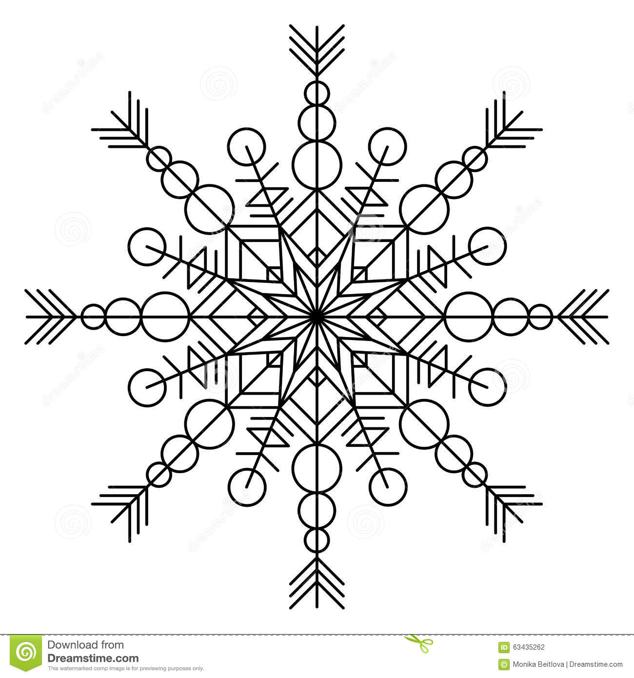 Snowflake coloring book stock vector. Illustration of circle - 63435262
