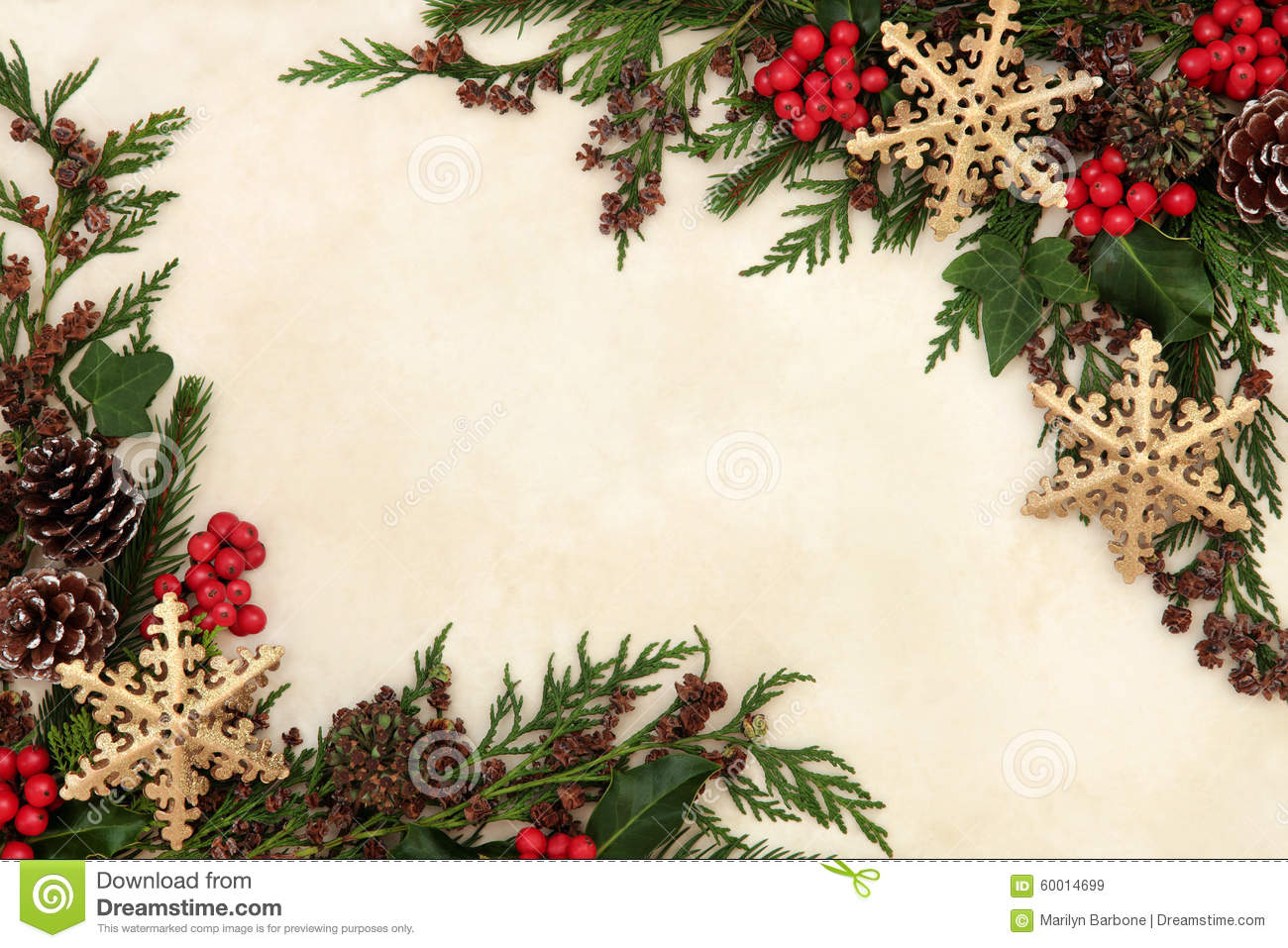 Christmas floral border stock photos freeimages com - Royalty Free Stock Photo Download Snowflake And Floral Border