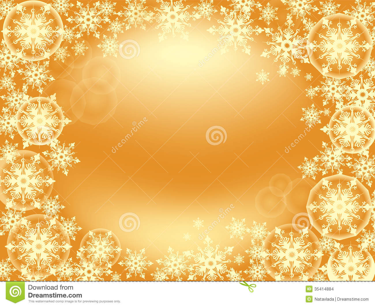 Frame of tender golden snowflakes scattered on the gold background for ...