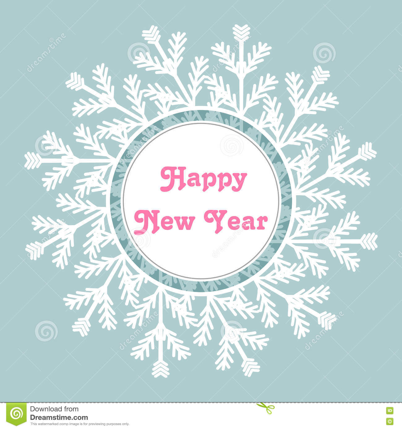 Snowflake Frame. Happy New Year Card. Vector Illustration