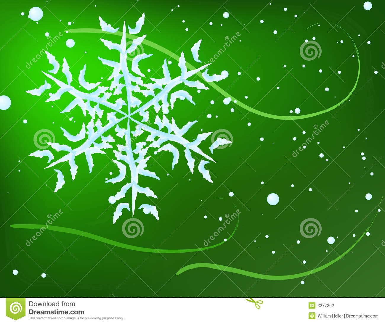 Snowflake On Green Background Stock Photography - Image ...
