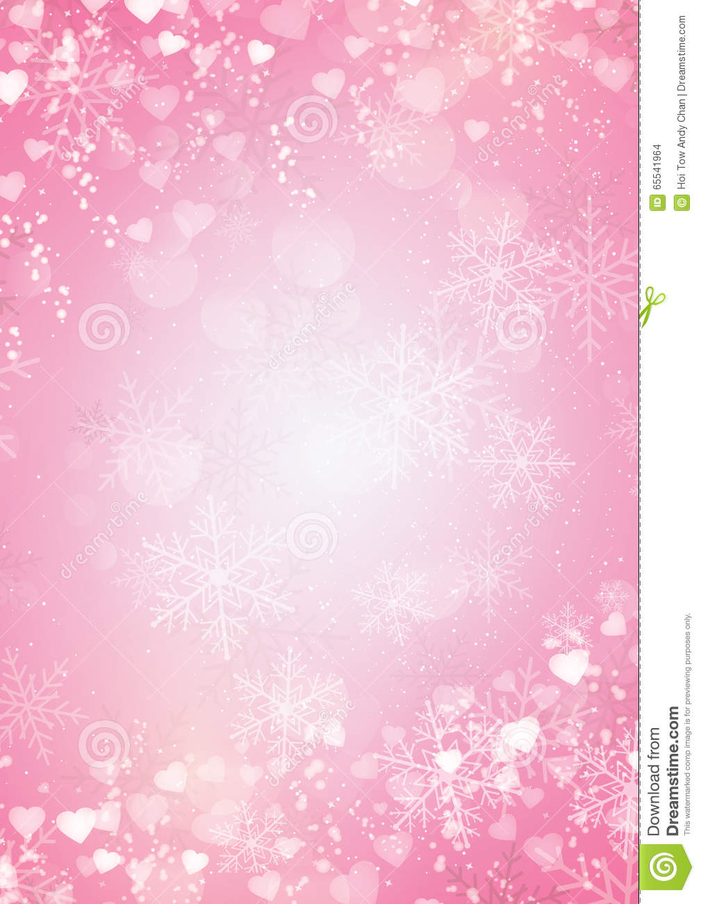 snowflake and hearts border pink background stock vector