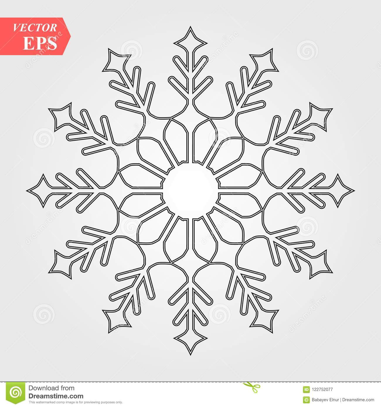 Snowflake Icon Black Silhouette Snow Flake Sign Isolated On White
