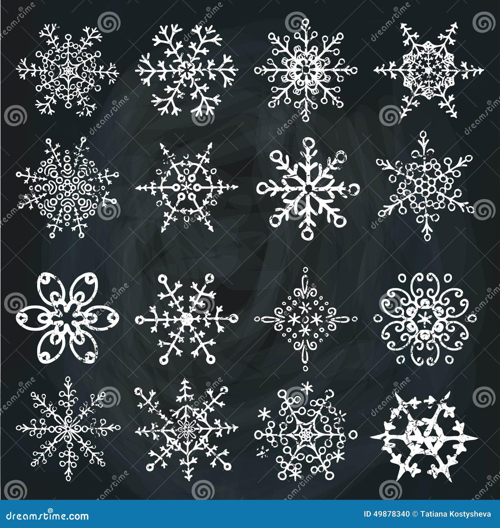 Snowflake Icon Set Winter Doodles Decor Stock Vector